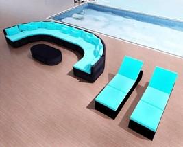 Patio Sectional Sofa Set Garden 2 Sun Lounger Furniture Clearance Rattan... - $1,671.97