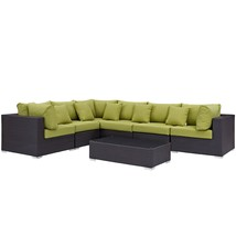 Convene 7 Piece Outdoor Patio Sectional Set Expresso Peridot EEI-2168-EX... - $2,593.00