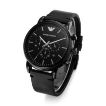 AR1918 Armani Black Leather Chronograph Mens Watch - $102.41