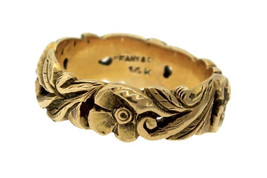 Ladies Antique Tiffany & Co. Estate 14K 585 Yellow Gold Floral Wedding B... - £617.76 GBP