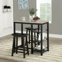 Counter Height Dining Table Set Storage Pub Furniture 3 Piece Kitchen Ch... - $208.88