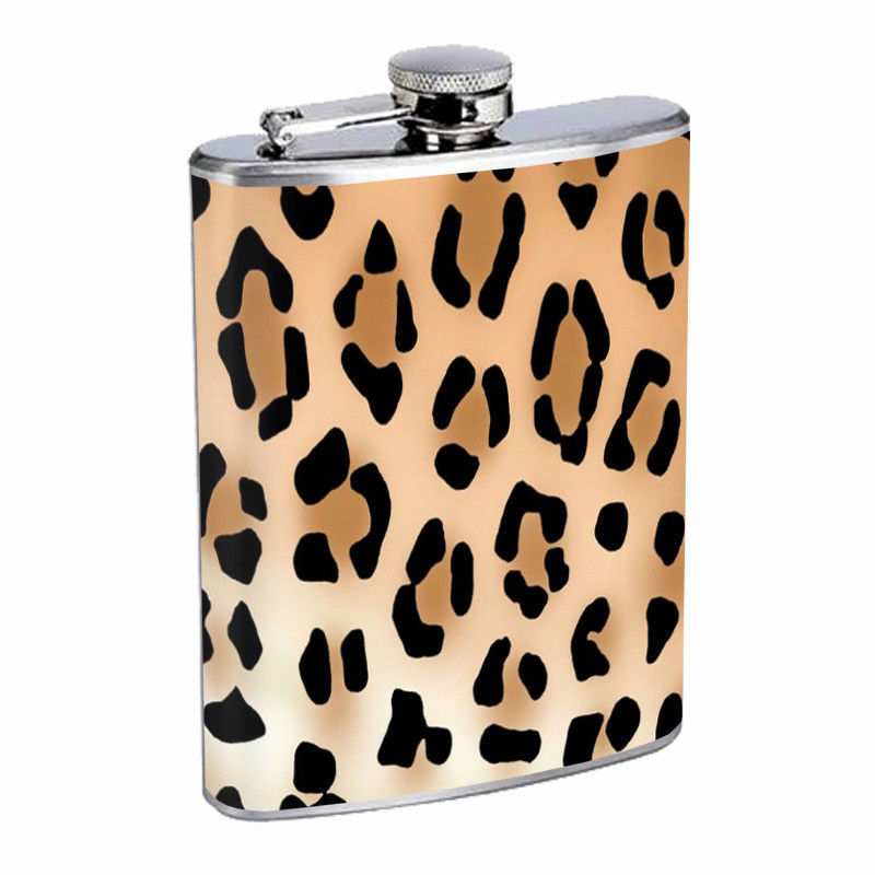 Wild Animal Prints D2 Flask 8oz Stainless Steel Hip Drinking Whiskey Cheetah