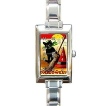 HALLOWEEN BLACK CAT WITH BOW WITCH BROOM & HAT CHARM WATCH - $25.99