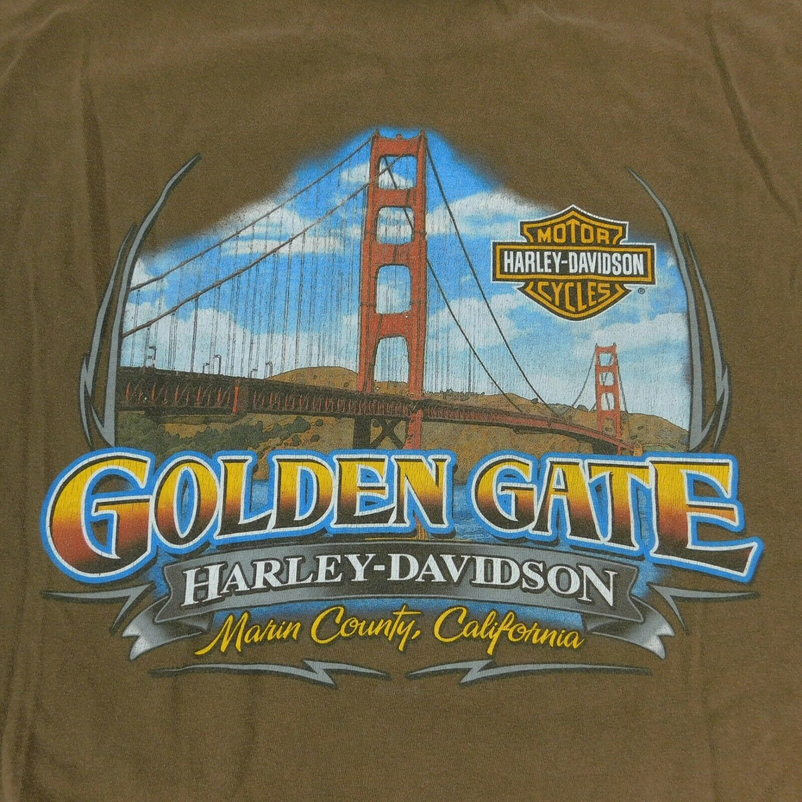 Primary image for Harley Davidson Motor Cycles Golden Gate CA Brown T Shirt Sz 2XL Hanes BeefyT