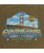 Harley Davidson Motor Cycles Golden Gate CA Brown T Shirt Sz 2XL Hanes B... - $19.99