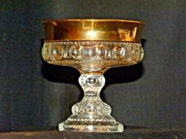 Clear King's Crown Compote with Thumb Print and gold Flash Design AA-191694 Vin image 3