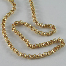 18K YELLOW GOLD CHAIN ROUNDED ROLO ROUND LINK, CIRCLES NECKLACE, MADE IN ITALY image 2