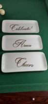 CHEERS,CELEBRATE & Amen Bundle,Ivory & Gold Ceramic Serving Dish For All... - $59.99