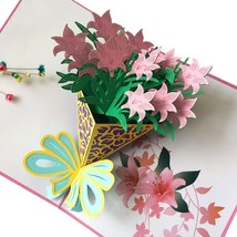 Lily Bouquet--3D Greeting Card, Pop Up Card, Pop Out Card - $6.96