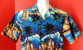 EUC Royal Creations Hawaiian Surfboard Car Palm Tree Mens Camp Shirt Medium - $16.99