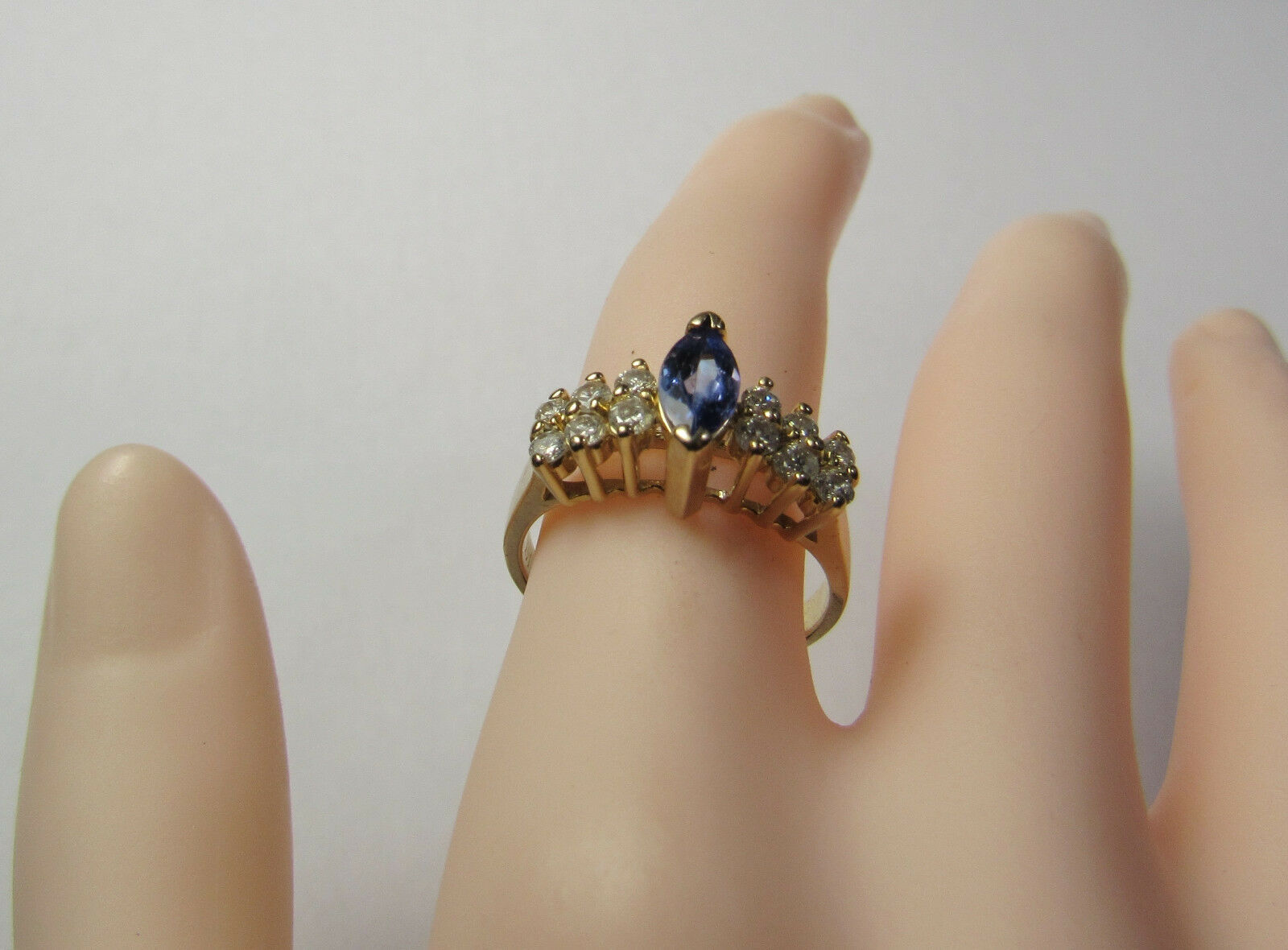 Primary image for VTG 14K 14KT Yellow Gold 1.15 Carat Tanzanite Marquise Diamond Size 6.25 Ring BH