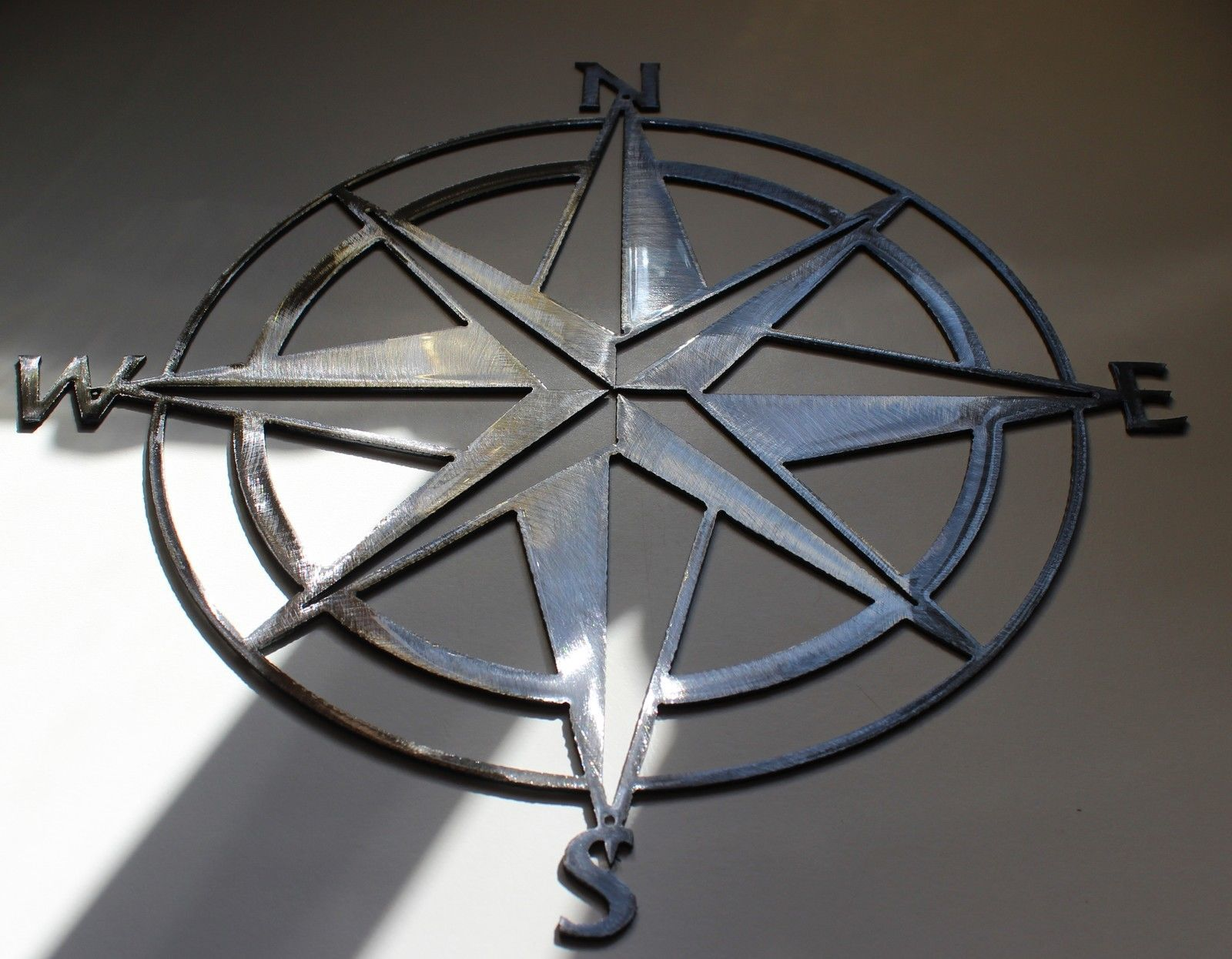 "Nautical COMPASS ROSE  WALL ART DECOR 18""  Silver Version"