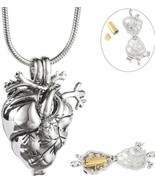 Loved Anatomical Heart Necklace Cremation Organ Pendant Urn For - $68.23