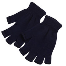 Dark Blue 2 Pairs Unisex Soft Half Finger Gloves Warm Knitted Mittens Fi... - $18.50 CAD