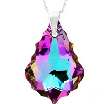 Sterling Silver Vitrail Light Purple Pink Blue Teardrop Necklace  - $97.09