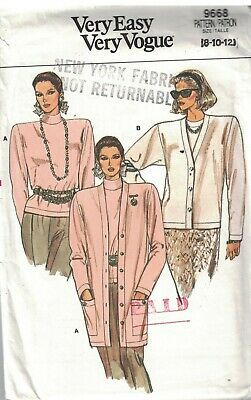 Primary image for 9668 UNCUT Vogue Sewing Pattern Misses Loose Fitting Cardigan Top Very Easy OOP