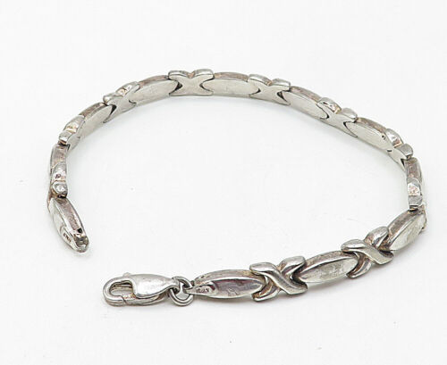 925 Sterling Silver - Vintage Hugs & Kisses XO Link Smooth Chain Bracelet- B4957