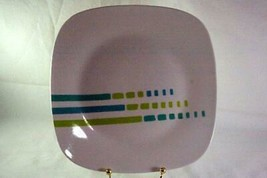 "Royal Norfolk Aqua And Green Lines And Squares Dinner Plate 9 3/4"" - $6.29"