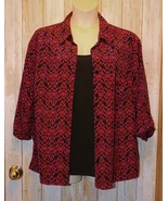 Womens Red Black Scroll Print JMS Just My Size 3/4 Sleeve Shirt Size 3X ... - $7.91