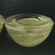 Kosta Boda Atoll Off White Swirl Votive Art Glass Candle Holder Sweden S... - $39.99