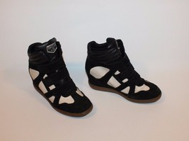 Black & White Leather & Black Suede SKECHRS Velcro Wedge Ankle Boots 5.5... - £17.67 GBP