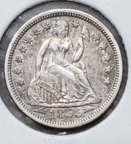 1855 Silver Seated Dime 10¢ Coin Lot# MZ 4780
