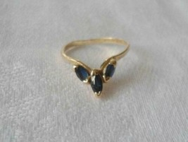 14k Solid Yellow Gold Toe Ring Blue Sapphires 1.2 Grams Sz 4 Marquis Cut - $65.16