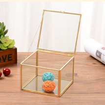 Square Geometric Clear Glass Jewelry Box Wedding Engagement Gift Flower ... - €65,10 EUR