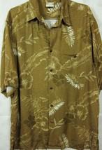 GORGEOUS Go Barefoot Dark Gold Floral Rayon Hawaiian Camp Shirt M - $28.14