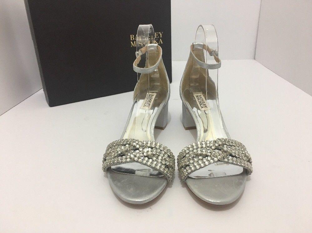 Badgley Mischka Triana Silver Metallic Suede Women's Evening Heels Sandals 8.5 M