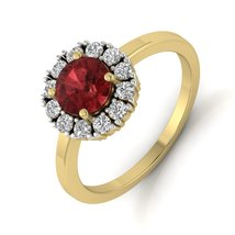 Solid 925 Sterling Silver Engagement Ring Red Garnet Halo Diamond Promis... - $89.99
