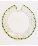 Vintage/antique seed beaded collar necklace AS IS screw clasp Peter Pan - $22.76