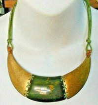 Vintage Signed You & i Brass & Green Collar Necklace - $45.00