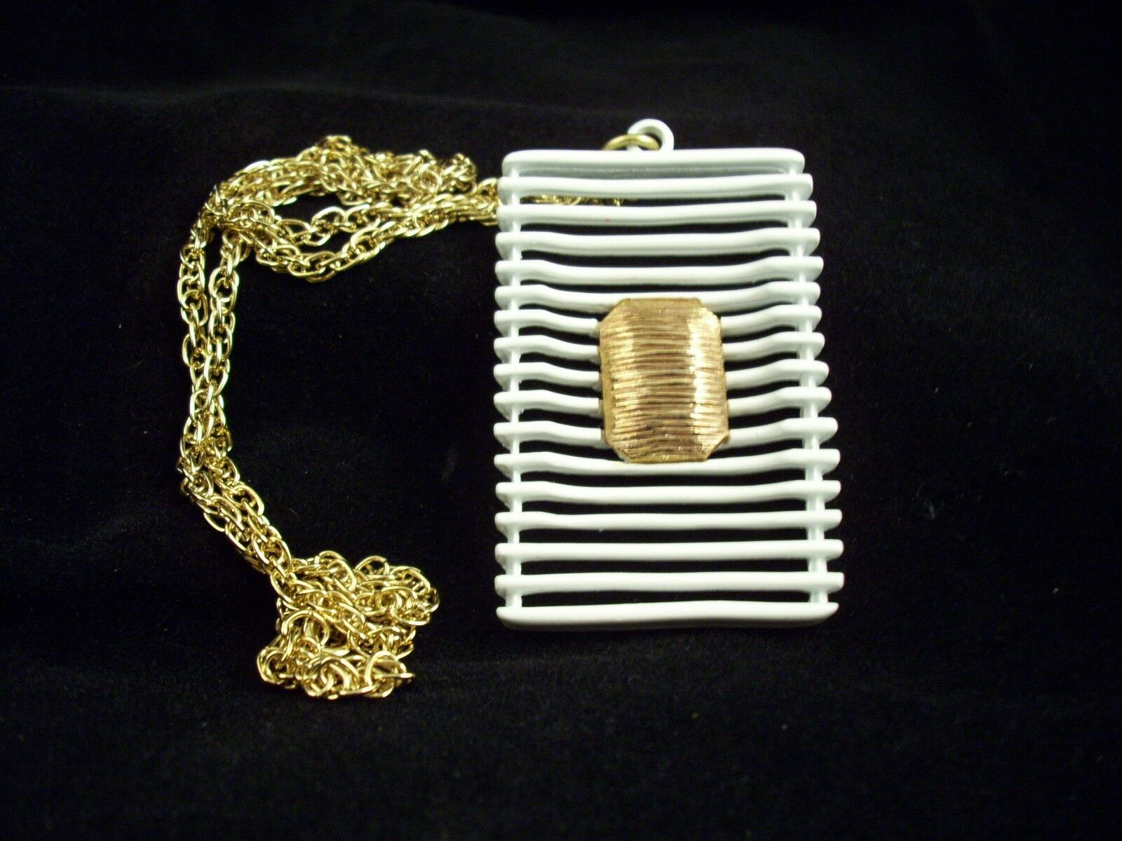 JJ ABSTRACT  WHITE Enamel Pendant Necklace Gold Plate Avant Garde GEOMETRIC image 2