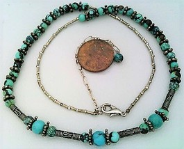 Bali Silver Turquoise Gemstone Necklace - $27.25