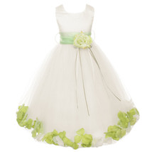 Ivory Satin Bodice Layers Tulle Skirt Lime Green Flower Ribbon Brooch and Petals - $48.00