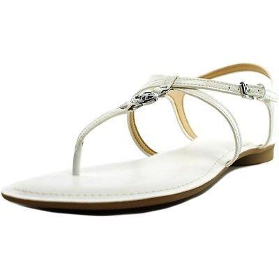 Michael Kors Women's Premium Designer Bethany Leather Sandals White