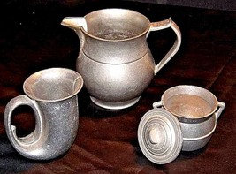 Pewter Pitcher, Cups, Creamer with Lid   AA18-1291 Vintage Hand Cast