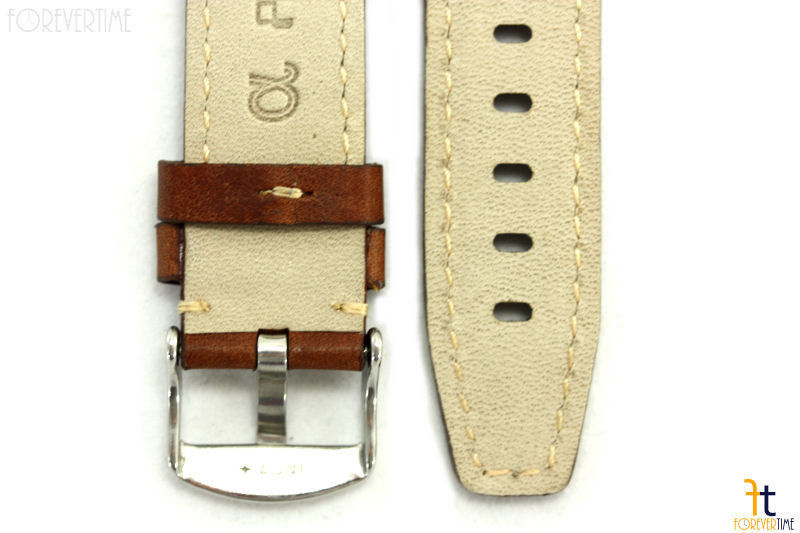 ALFA 20mm Genuine Brown Smooth Leather RIVET Watch Band Strap Anti-Allergic