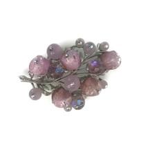 Vintage 1950s Coro Pink Crackle Bead Aurora Borealis Pin Brooch Costume Jewelry - $23.33