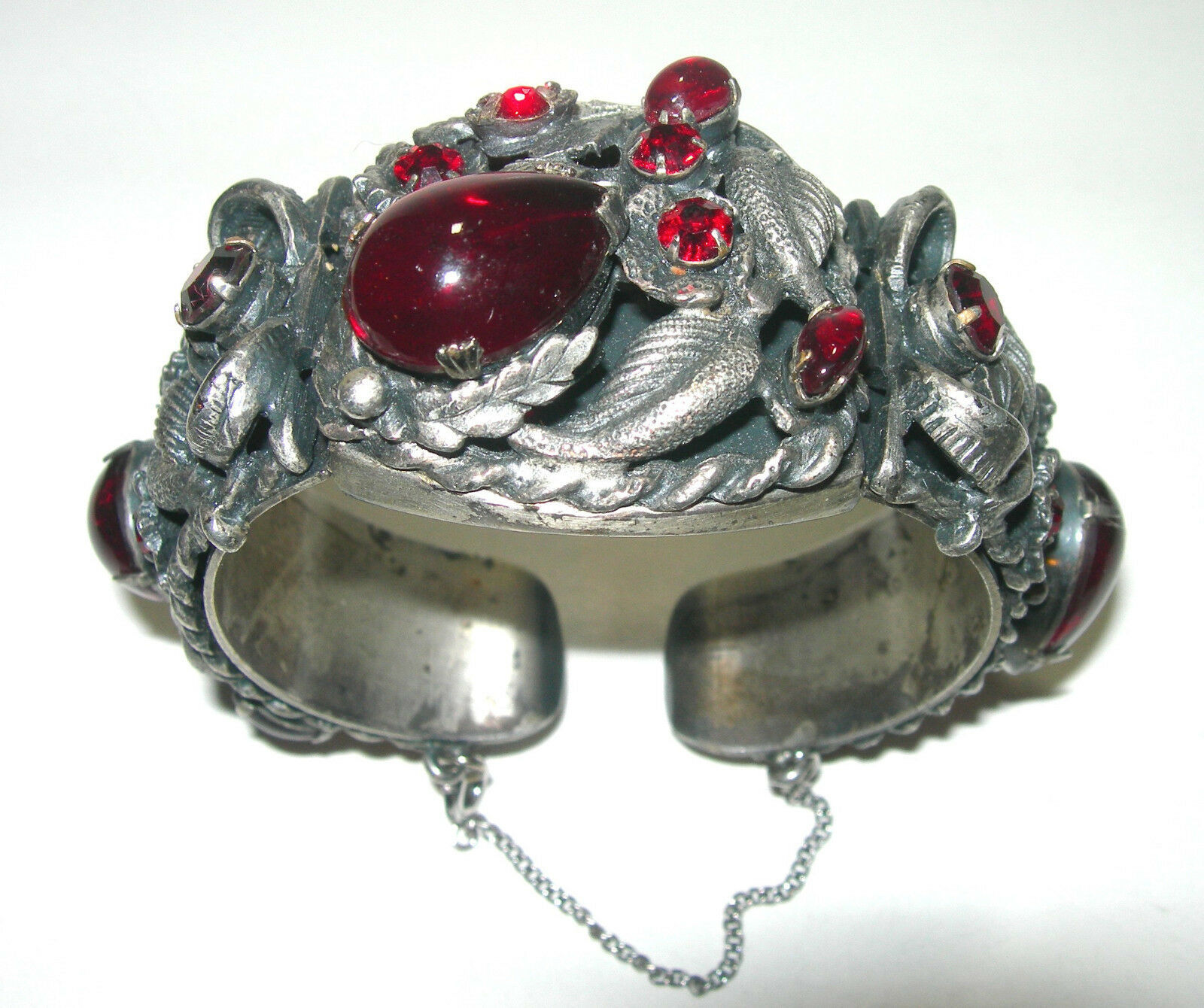 VINTAGE LARGE WIDE RED RHINESTONE GLASS SILVER TONE CUFF BRACELET UNSIGNED SELRO - $185.00