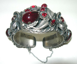VINTAGE LARGE WIDE RED RHINESTONE GLASS SILVER TONE CUFF BRACELET UNSIGN... - $185.00