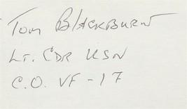 "Tom Blackburn signed card. CO of the ""Jolly Rogers"". VF-17. F4U Corsair - $12.95"
