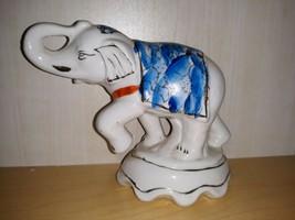 Vintage Elephant White Blue Floral Blanket Gold Accent Ceramic Figurine ... - $15.47