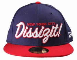 Dissizit! NYC New Era Navy Red True Fitted Wool Baseball Cap Contrast Hat