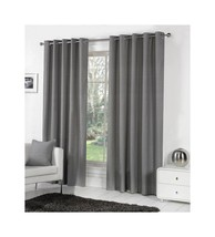 CHARCOAL GREY 100% COTTON 66x54 168x137CM FULLY LINED RING TOP CURTAINS ... - $36.31
