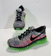 Nike Flyknit Air Max Running Shoes Mens Size 10 Gray Multicolor Green 62... - $135.53