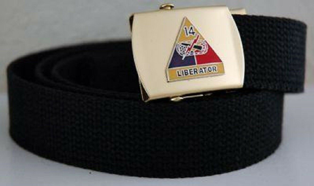 Primary image for US Army 14th Armored Div Black Military Belt & Buckle
