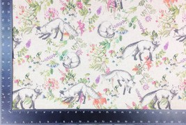 Wildlife Foxes Flowers Linen Look High Quality Fabric Material *3 Sizes* - $1.89+
