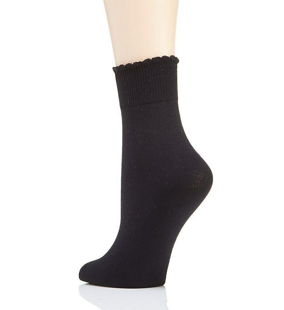 Berkshire BLACK Cozy Hose Plush Lined Scalloped Anklet, US Plus(9-12)